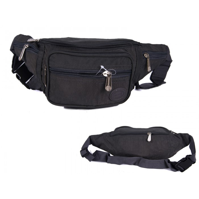 2522 DARK GRAY CRINKLED NYLON BUMBAG WITH 6 ZIP POCKETS