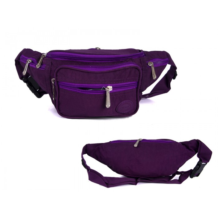 2522 PLUM CRINKLED NYLON BUMBAG WITH 6 ZIP POCKETS