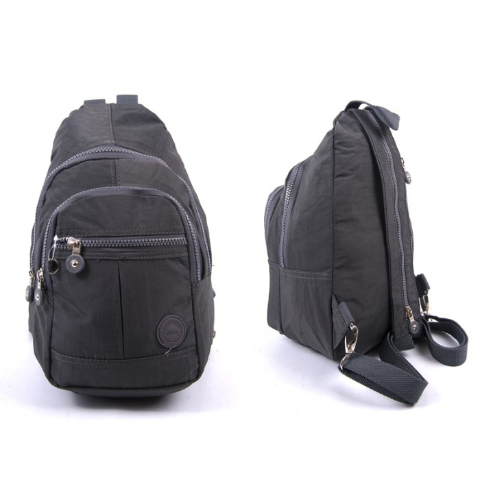 2526 D.GRAY CRINKLED NYLON BACKPACK WITH 4 ZIPS
