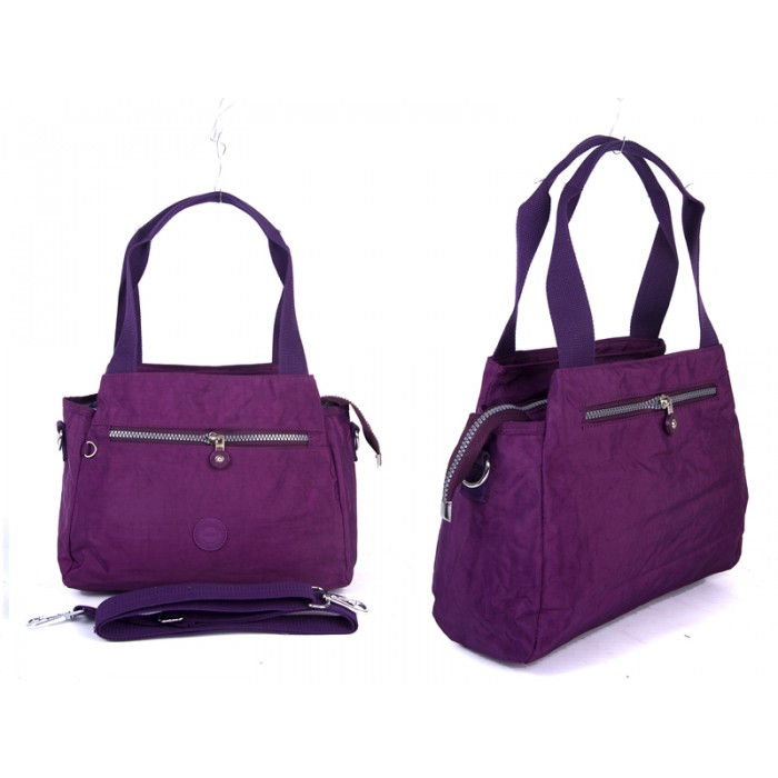 2531 PLUM Crinkled Nylon Twin Hndle Bag wt Detchble
