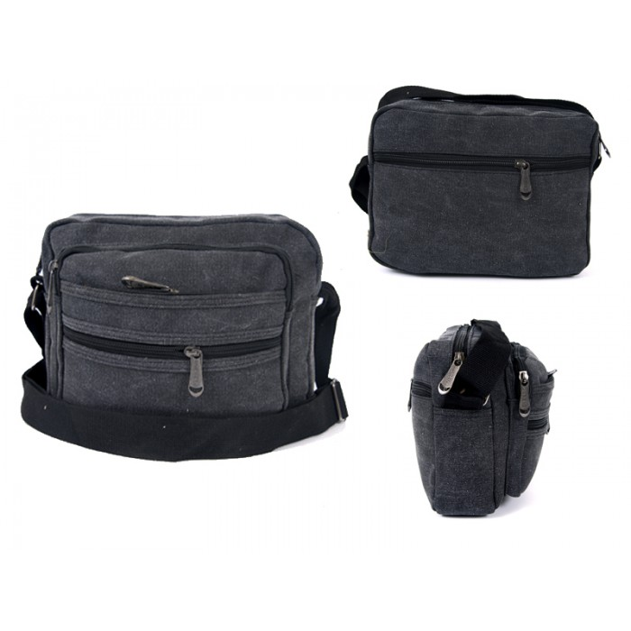 2558 BLACK CANVAS XBODY BAG WITH 5 ZIPS