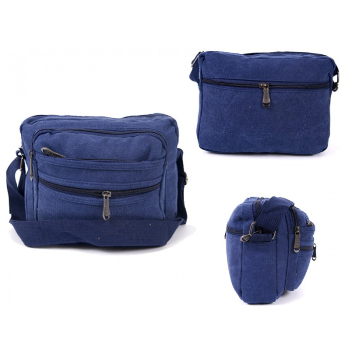 2558 BLUE CANVAS XBODY BAG WITH 5 ZIPS