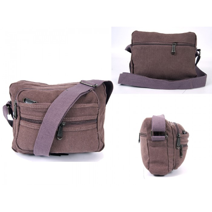 2558 BURGANDY CANVAS XBODY BAG WITH 5 ZIPS