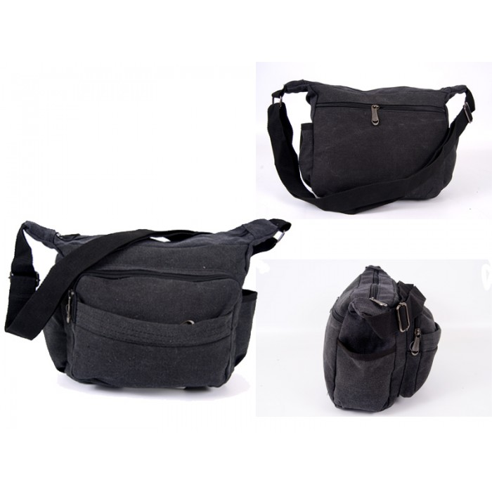 2560 BLACK CANVAS X SHOULDER BAG WITH 5 ZIPS