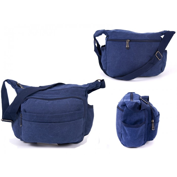 2560 NAVY CANVAS X SHOULDER BAG WITH 5 ZIPS