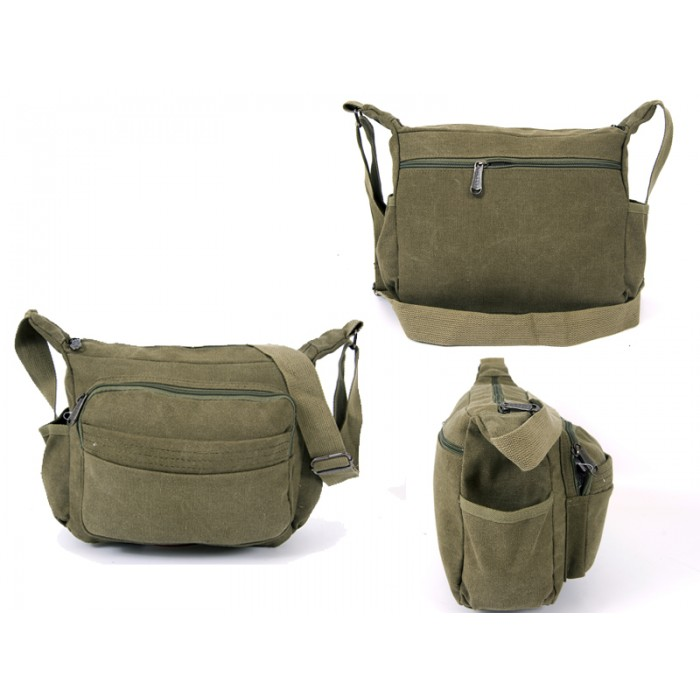 2560 GREEN CANVAS X SHOULDER BAG WITH 5 ZIPS