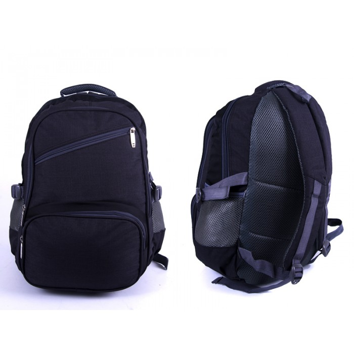 "2596 BLACK/GREY ""DENIUM"" LOOK BACKPACK WITH 4 ZIPS & SIDE P"