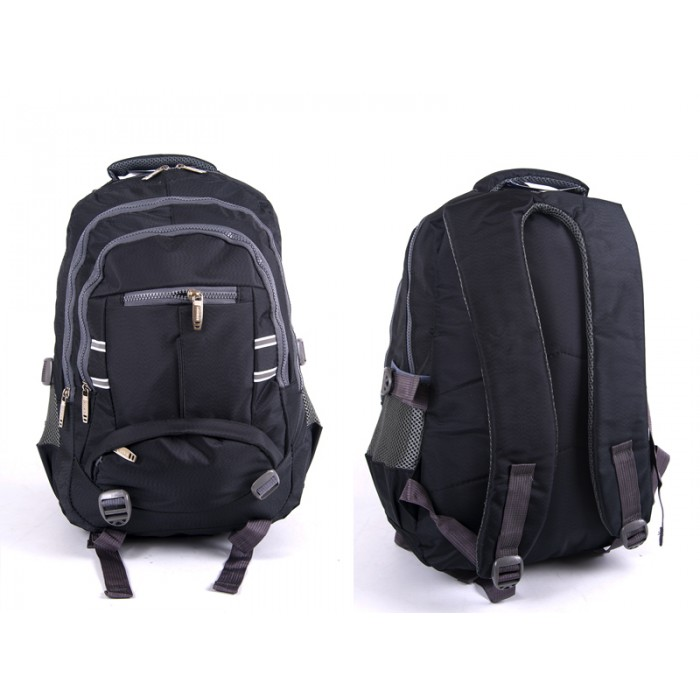 "2597 BLACK/GREY NYLON BACKPACK WT 3 2""CHUNKY"" ZIPS 2 SIDE P"