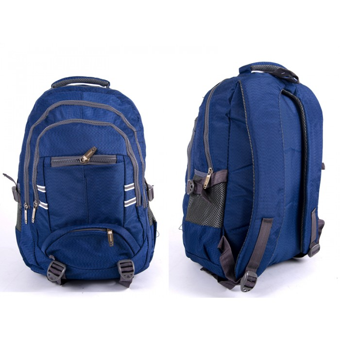 "2597 BLUE/GREY NYLON BACKPACK WT 3 2""CHUNKY"" ZIPS 2 SIDE P"