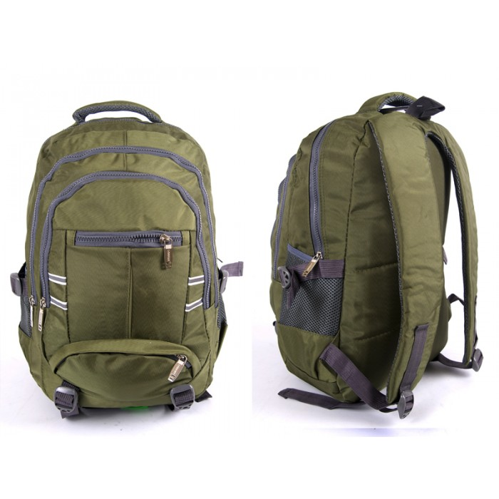 "2597 GREEN NYLON BACKPACK WT 3 2""CHUNKY"" ZIPS 2 SIDE P"