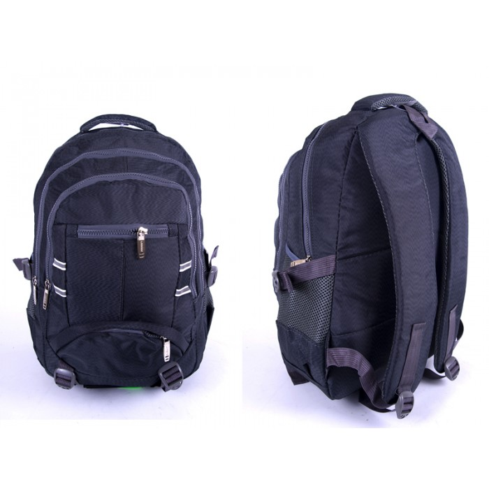 "2597 GREY NYLON BACKPACK WT 3 2""CHUNKY"" ZIPS 2 SIDE P"