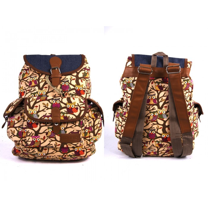 2608 Brown Owl Canvas Backpack wt 1 Frnt & 2 Side Pockets