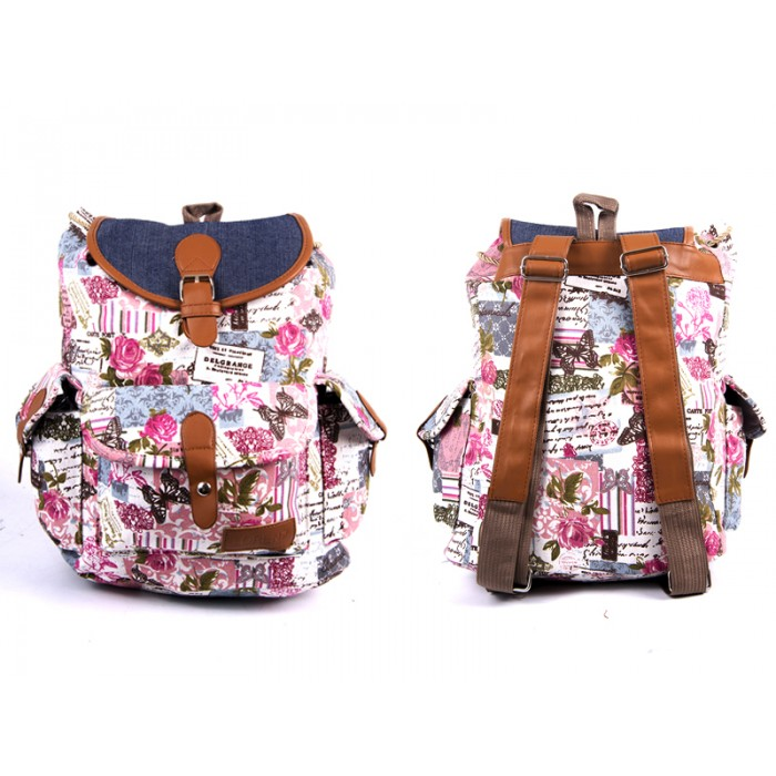 2608 ROSES Bobo Canvas Backpack wt 1 Frnt & 2 Side Pockets