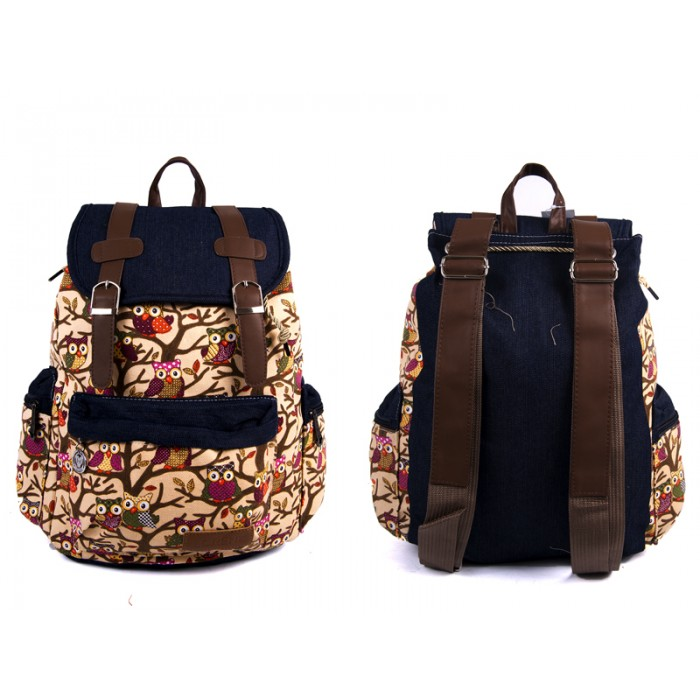 2609 OWL Bobo Canvas Backpack wt 1 Frnt & 2 Side Pockets