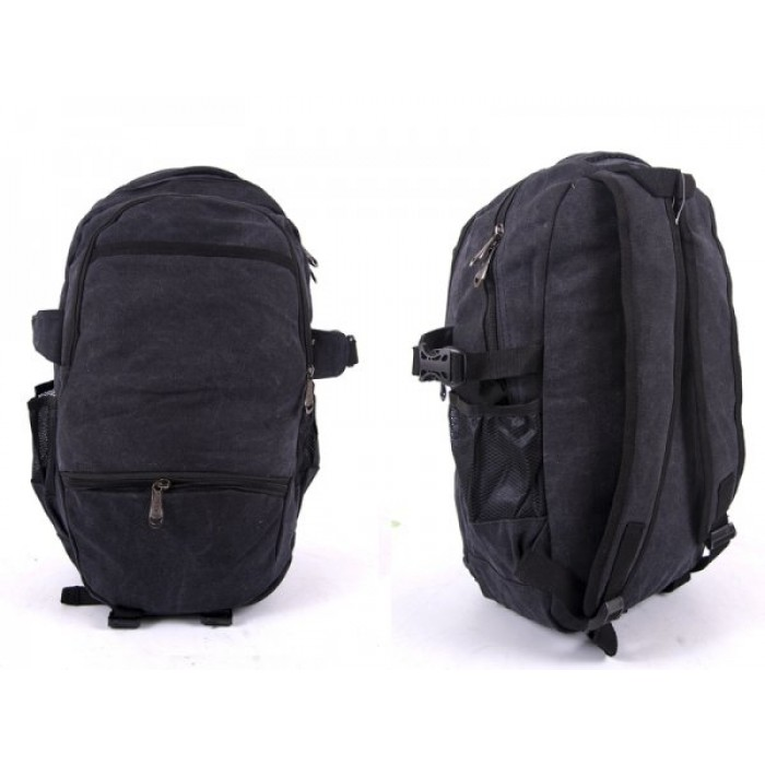 2616 BLACK CANVAS BACKPACK WIT 4 ZIPS & 2 SIDE POCKETS