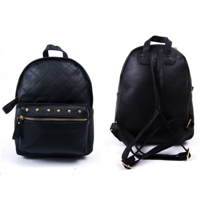 JBFB204 BLACK PU BACKPACK WITH STUDS