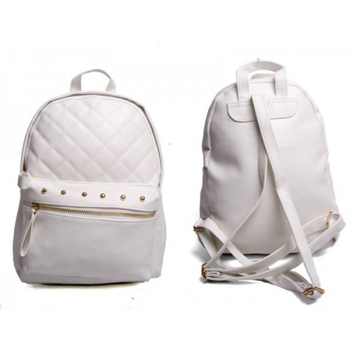 JBFB204 WHITE PU BACKPACK WITH STUDS