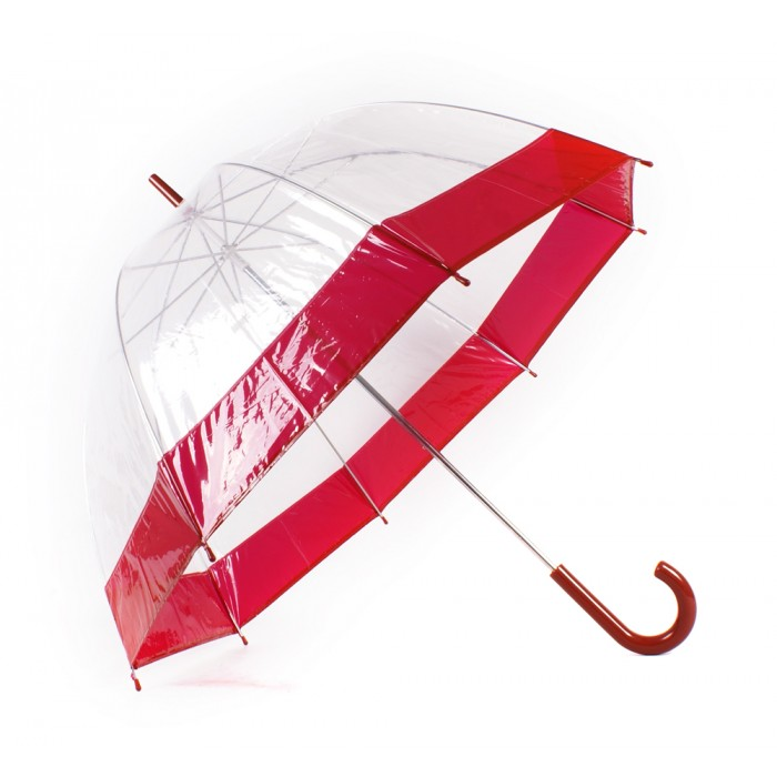 2804 BURGANDY Clear Pvc Dom Umbrella