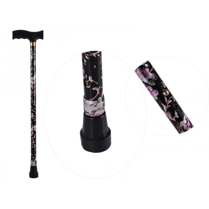 2880 BLACK FLORAL WALKING STICK