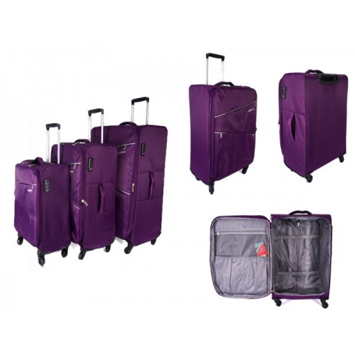 HBY-0084 PURPLE SET OF 3, 4 360 DEGREE SWIVEL WHEEL TROLLEYS