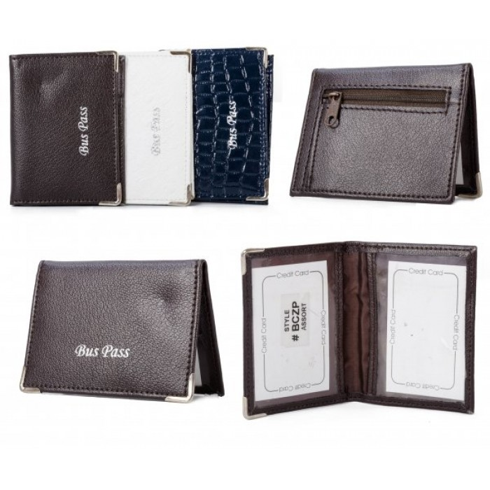 BCZP BROWN PU BUSS PASS WALLET
