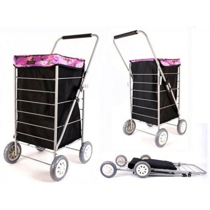 6963 BLACK PINK ROSES 4 WHEEL CAGE SHOPPING TROLLEY