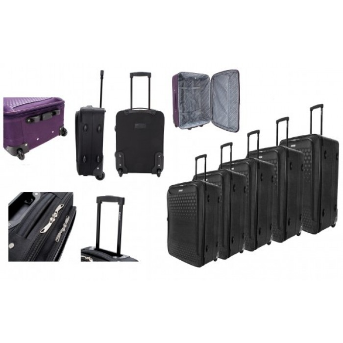 EV-426 2-WHEELED SOFTCASE LUGGAGE SET OF 5 IN BLACK