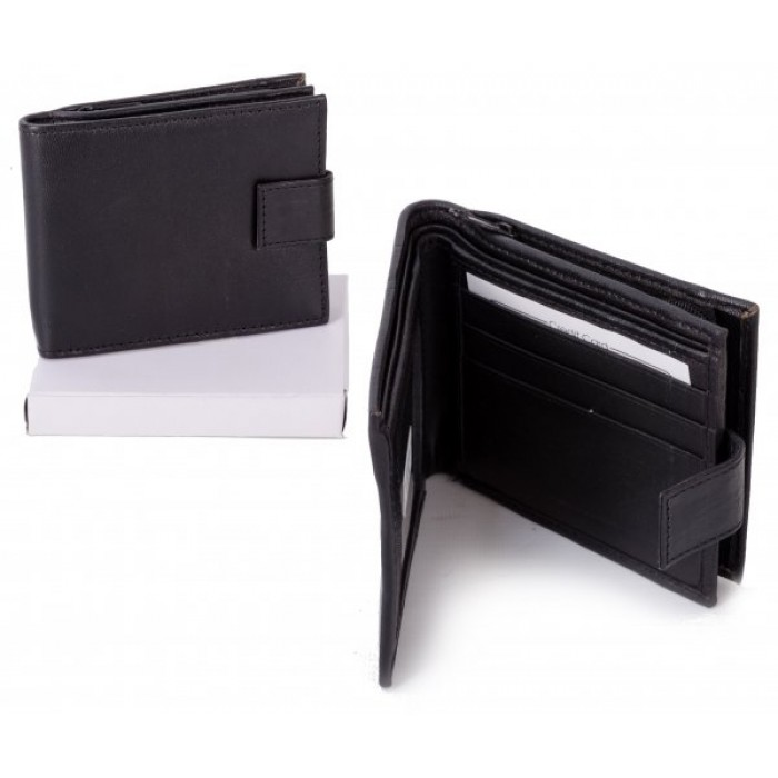 MWMF-4 BLACK PU WALLET W/ COIN SECTION