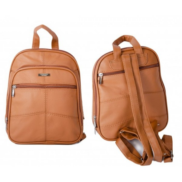 3744TAN BACKPACK WITH TOP ZIP ROUND COMPARTMENT, TWO