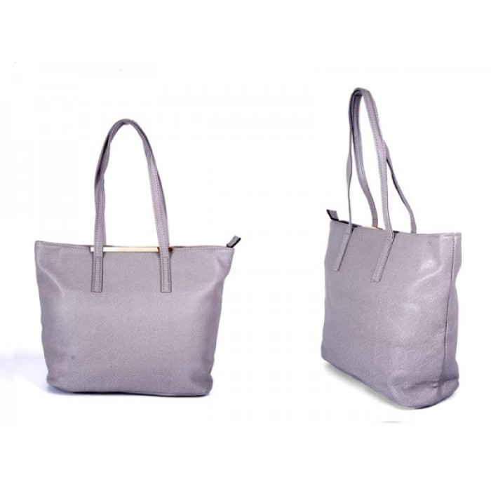 JBFB137 GREY PU BAG WITH METAL TOP AND ONE ZIP