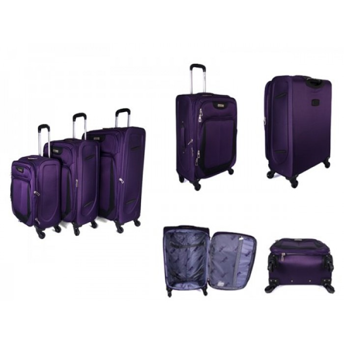 "JB2022 PURPLE SET OF THREE TROLLEY CASE 20"",24"",28"""
