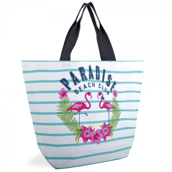 BB1026 STRIPED CANVAS BAG WITH SLOGAN BLUE