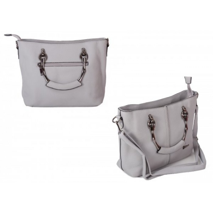 598 GREY PU HANDBAG WITH CROSSBODY STRAP