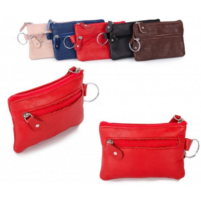 CPDM-54 RED LEATHER COIN PURSE W/KEYRING