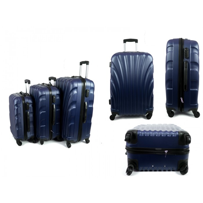 4410 BLUE SET OF THREE ABS LUGGAGE CASES