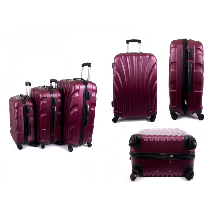 4410 RED SET OF THREE ABS LUGGAGE CASES