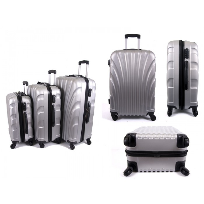 4410 SILVER SET OF THREE ABS LUGGAGE CASES