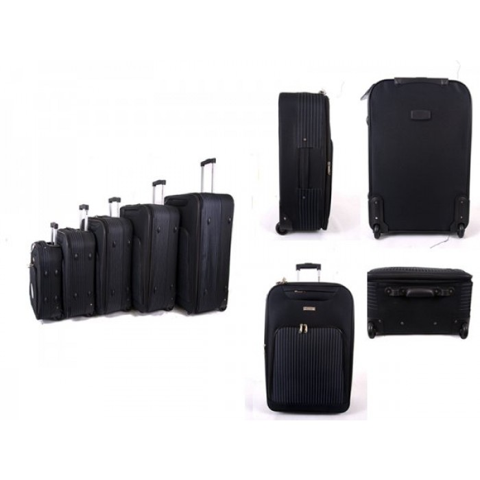 EV-421 BLACK SET OF FIVE TRAVEL TROLLEY WITH TWO WHEELS