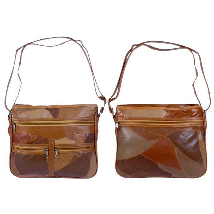 4776 Brown Twin Top Zip Patch Bag