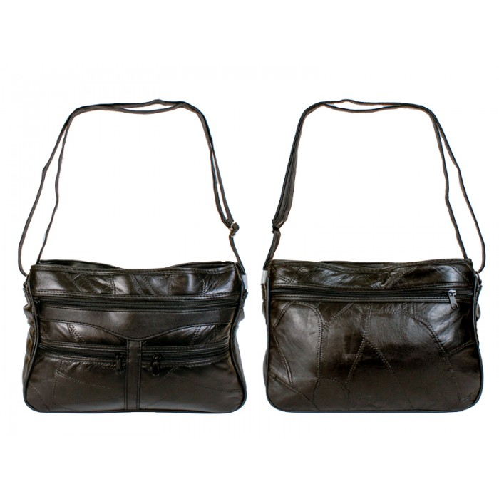 4776 Black Twin Top Zip Patch Bag, 3 Frnt & Bck Zips