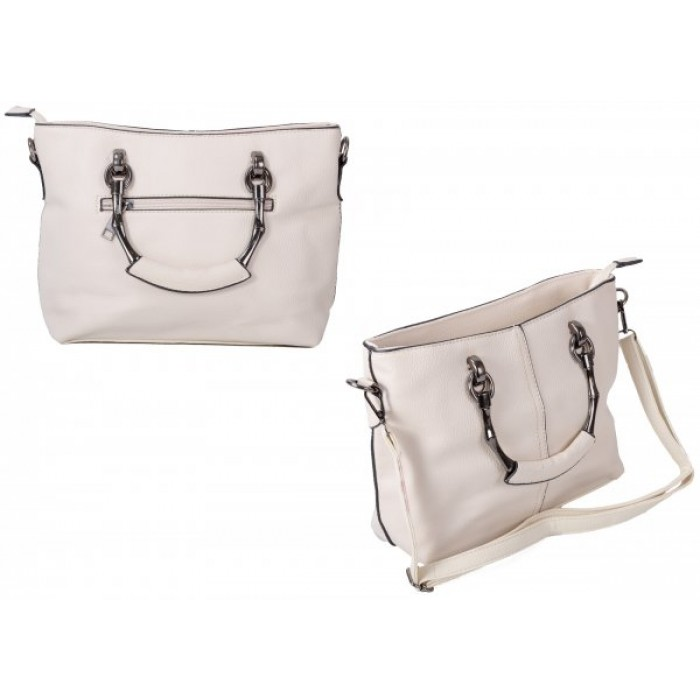 598 WHITE PU HANDBAG WITH CROSSBODY STRAP