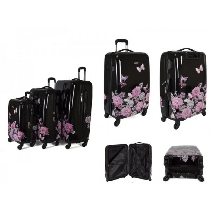 JB2027 BLACK JEWELLED GARDEN SET OF THREE TROLLEY CASE