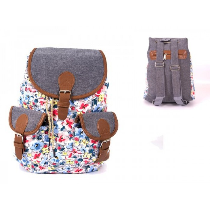 2606 BOHO FLOWERS CANVAS BACKPACK WITH 2 FRONT POCKETS