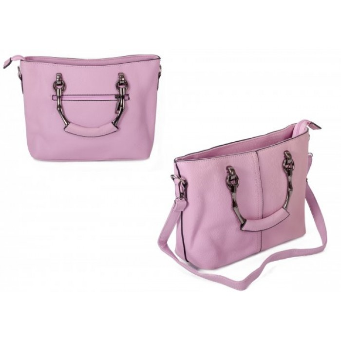 598 PINK PU HANDBAG WITH CROSSBODY STRAP
