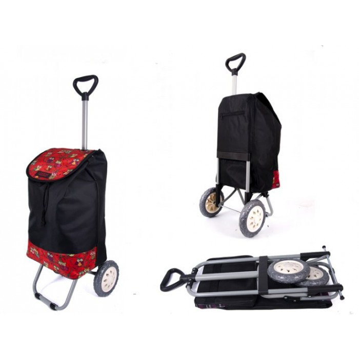 6957 RED OWLS Shopping Trolley with Adjustable Handle