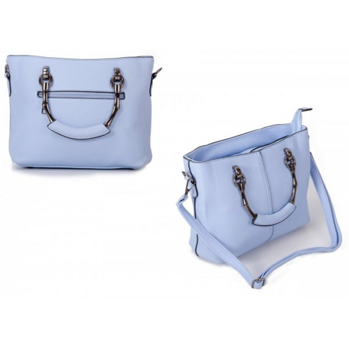 598 SKY BLUE PU HANDBAG WITH CROSSBODY STRAP