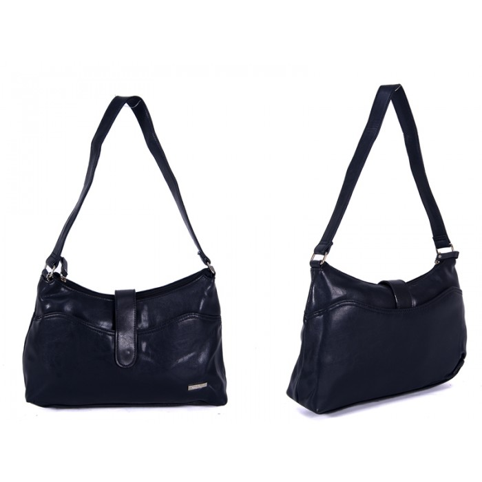 5751 Navy LEATHER BAG WITH POPPER CLOSE