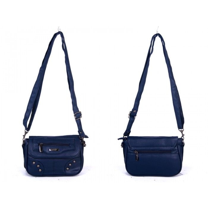 5869 NAVY PU X BODY SML FLAP HANDBAG