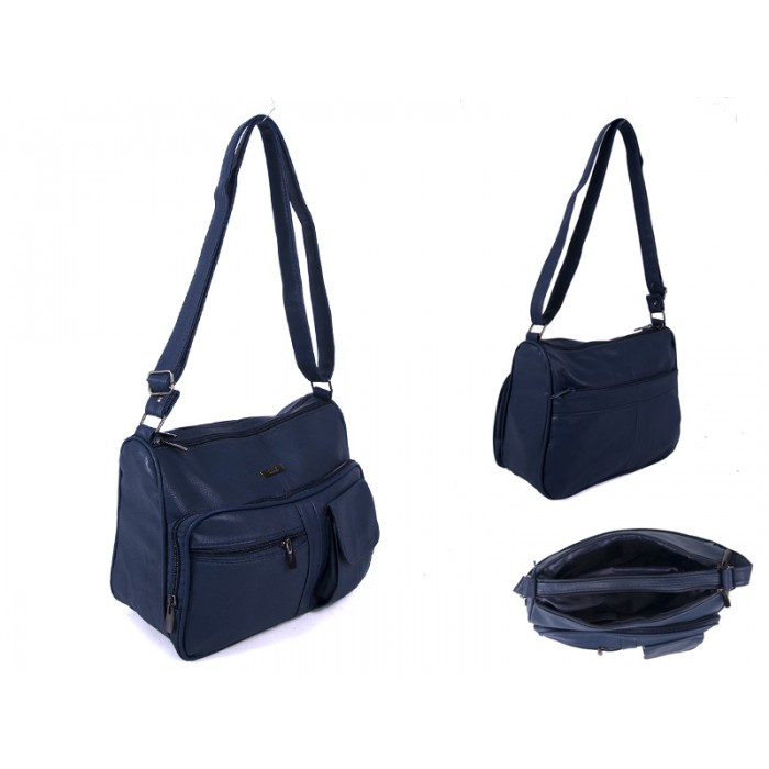 5869 NAVY PU BAG WITH 5 ZIPS AND POP POCKET