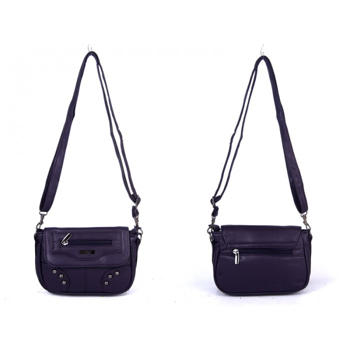 5869 PURPLE PU X BODY SML FLAP HANDBAG